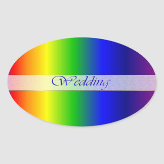 Wedding Rainbow Colors Oval Sticker