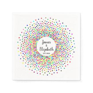 Wedding Rainbow Confetti Paper Napkins