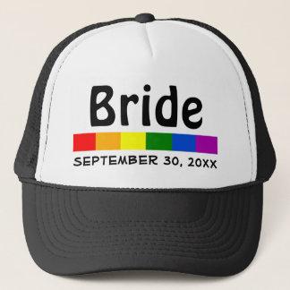 Wedding Rainbow Flag Banner Bride Trucker Hat