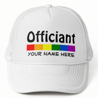 Wedding Rainbow Flag Banner Officiant Personalized Trucker Hat