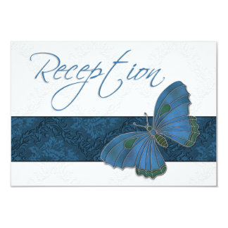 Wedding Reception Butterfly Brocade blue Card