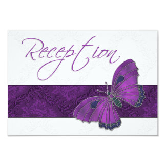 Wedding Reception Butterfly Brocade Purple Card