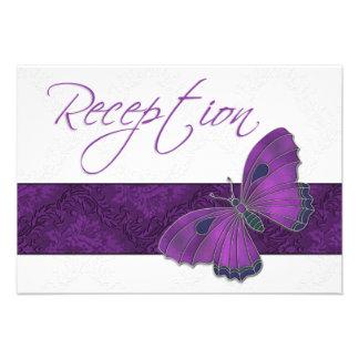 Wedding Reception Butterfly Brocade Purple Personalized Invitation