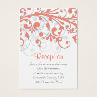 Wedding Reception Card Abstract Floral Coral Grey