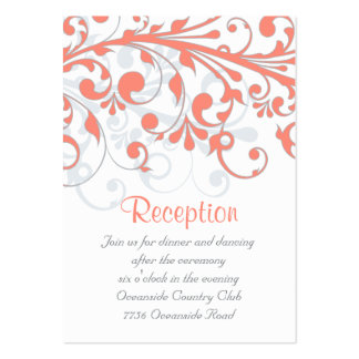 Wedding Reception Card Abstract Floral Coral Grey Large Business Card