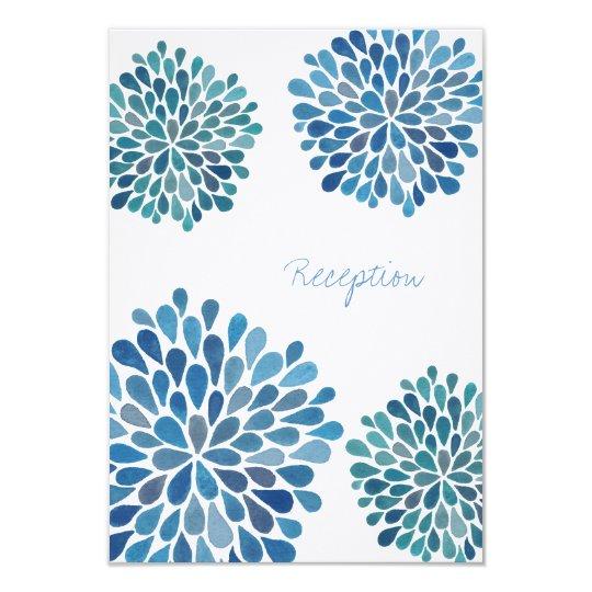 Wedding Reception Card Cerulean Blue Flower Blooms