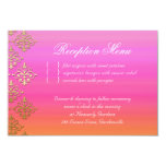 "Wedding Reception Card Indian Damask Pink Orange 3.5"" X 5"" Invitation Card"