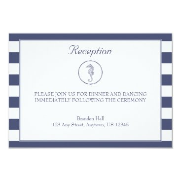 Beach Themed Wedding Reception Card | Nautical Seahorse