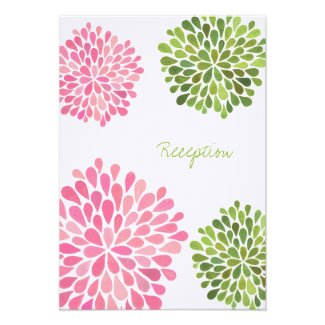 Wedding Reception Card Pink & Green Blooms Custom Announcements