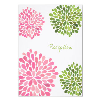 Wedding Reception Card Pink & Green Blooms