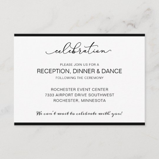 Wedding Reception Card With Short Order Of Events Zazzle