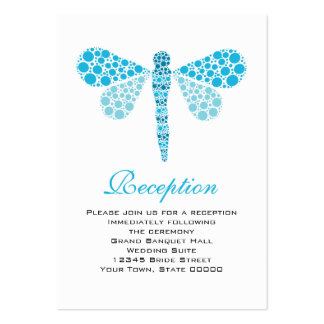 Wedding Reception Cards Blue & White Dragonfly
