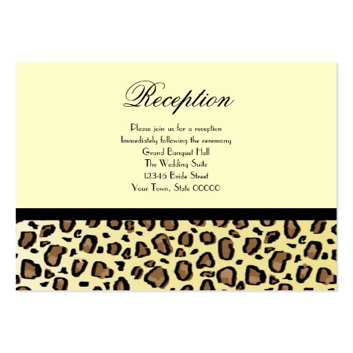 wedding reception cards leopard print business card templates zazzle. Black Bedroom Furniture Sets. Home Design Ideas