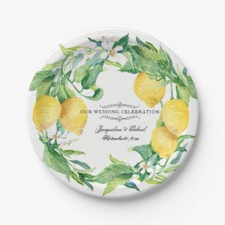 Wedding Reception Citrus Lemon Floral Leaf Wreath Paper Plate
