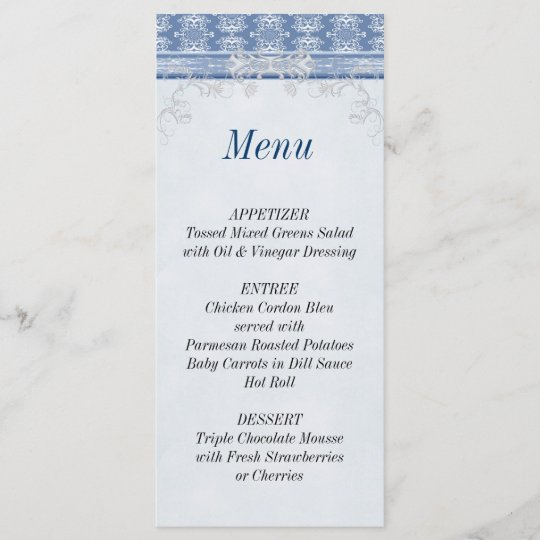 Wedding Reception Damask Menu List Card Zazzle