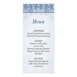 Wedding Reception Damask Menu List Card Rack Cards