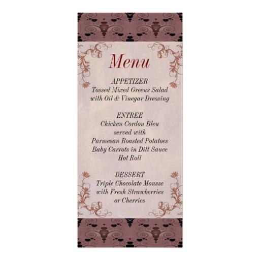 Wedding Reception Damask Menu List Card Personalized Rack Card