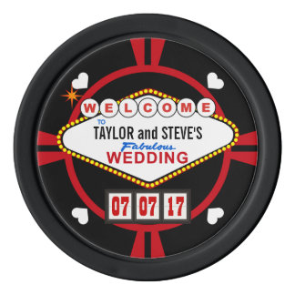 Wedding Reception Drink Tokens Vegas Casino Style Poker Chip Set