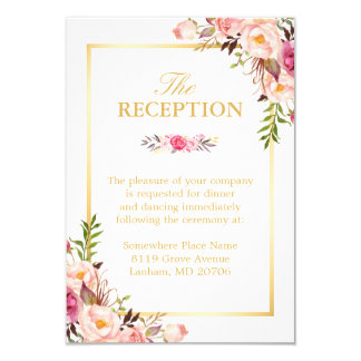 Wedding Reception Elegant Chic Fl Gold Frame Card