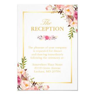 Wedding Reception Elegant Chic Floral Gold Frame Card