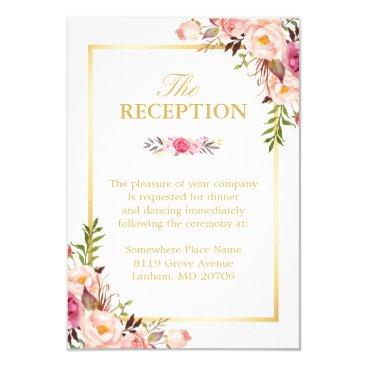 CardHunter Wedding Reception Elegant Chic Floral Gold Frame Card