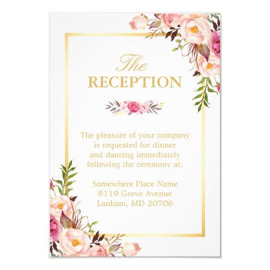 Wedding Reception Elegant Chic Floral Gold Frame Card Zazzlecom