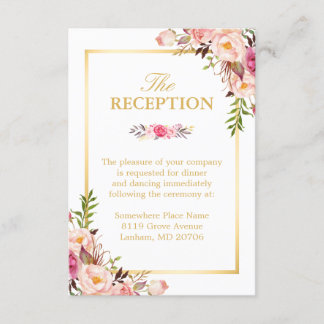 Wedding Reception Elegant Chic Floral Gold Frame Enclosure Card