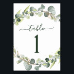 "Wedding Reception Eucalyptus Greenery Succulent Table Number<br><div class=""desc"">Eucalyptus Greenery Succulent Botanical Watercolor Spring Wedding Table Number Card on white background - includes beautiful and elegant script typography with modern botanical leaves and greenery for the special Wedding day celebration.</div>"