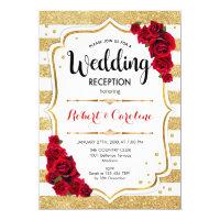 Wedding Reception - Gold White Red Invitation