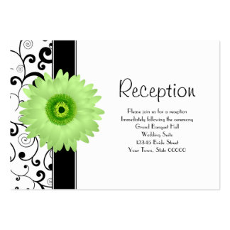Wedding Reception Green Gerbera Daisy Black Scroll Large Business Cards (Pack Of 100)