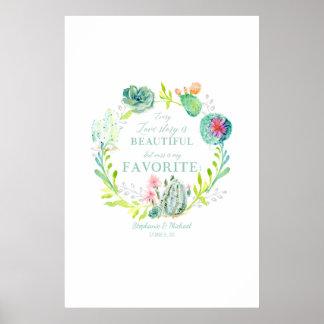 Wedding Reception Guest Book Cactus Succulent Art