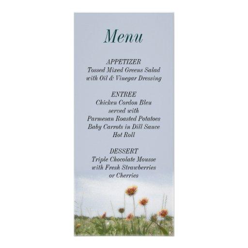 Wedding Reception Indian Blanket Menu List Card Rack Card Design