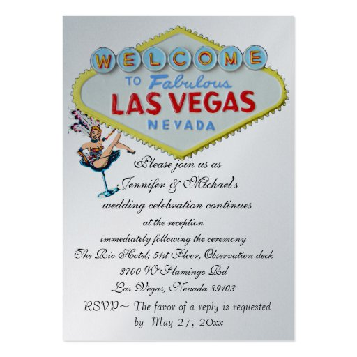 Wedding reception invitation las vegas showgirl large for Wedding invitations packs of 100