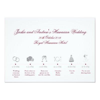 Wedding Reception Itinerary Timeline Card