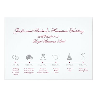 Wedding Reception Itinerary Timeline Card | Zazzle