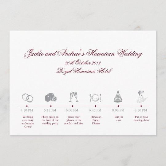 Wedding Reception Itinerary Timeline Program Zazzle