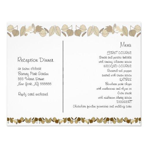 """Menu Cards For Wedding Receptions: Wedding Reception Menu Card Gold Leaf 4.25"""" X 5.5"""