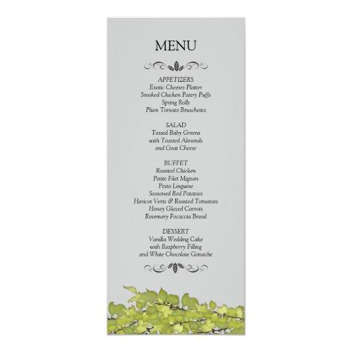 Wedding Reception Menu Cards