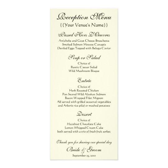 Wedding Reception Menu; The Kiss by Gustav Klimt Rack Card