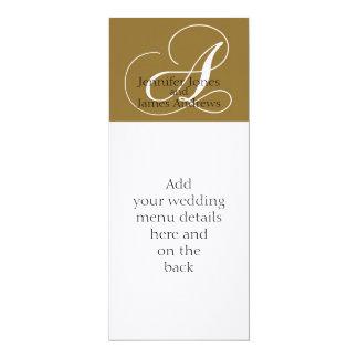 Wedding Reception Menus Monogram Gold White Card