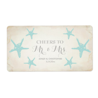 Wedding Reception Mini Champagne Label Starfish