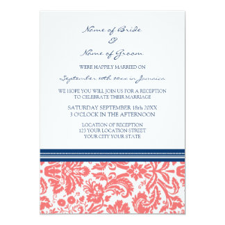 Wedding Reception Only Blue Coral Damask 5x7 Paper Invitation Card