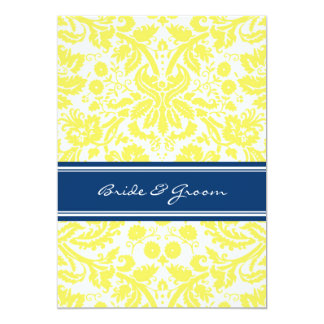Wedding Reception Only Blue Yellow Damask 5x7 Paper Invitation Card