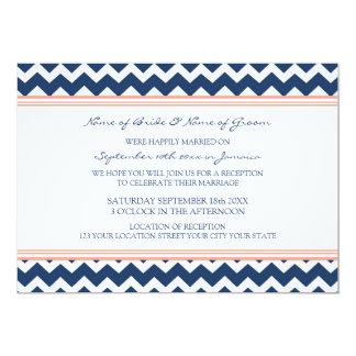 Wedding Reception Only Coral Blue Chevron 5x7 Paper Invitation Card
