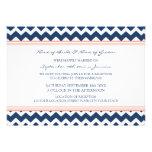 Wedding Reception Only Coral Blue Chevron Invites