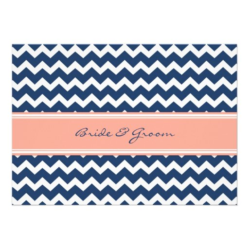 Wedding Reception Only Coral Blue Chevron Invites