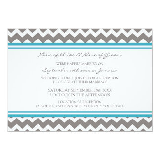 Wedding Reception Only Grey Teal Chevron Card