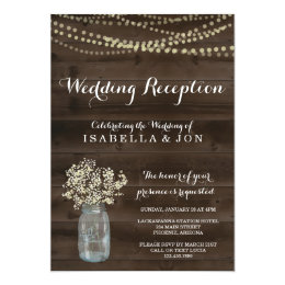 Merveilleux Wedding Reception Only Invitation | Rustic ...
