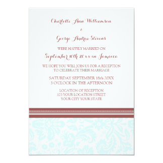 Wedding Reception Only Sky Blue Wine Damask 5x7 Paper Invitation Card