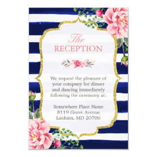 Wedding Reception Pink Floral Navy Blue Striped Card